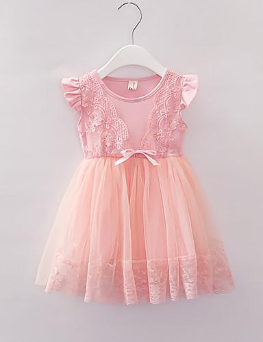 Μωρό Κοριτσίστικα Βασικό Φλοράλ Δίχτυ Κοντομάνικο Πάνω από το Γόνατο Φόρεμα Ανθισμένο Ροζ