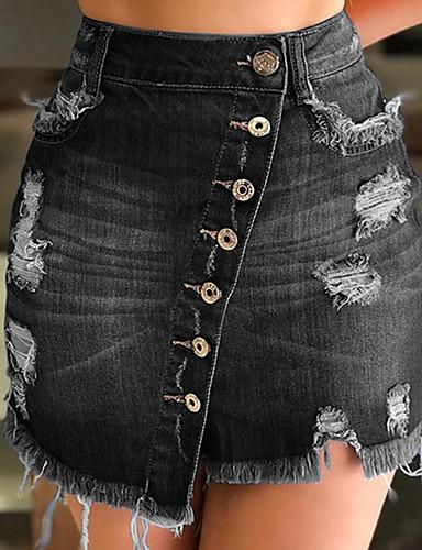Γυναικεία Εφαρμοστό Βασικό / Κομψό στυλ street Ντένιμ Ασύμμετρο Φούστες - Μονόχρωμο Καρφί / Τρύπα Μαύρο Μπλε Απαλό Βαθυγάλαζο L XL XXL
