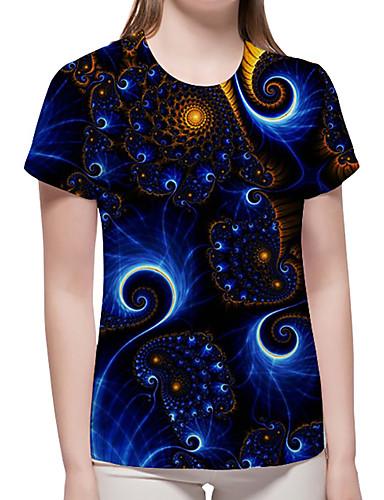 billige Dametopper-T-skjorte Dame - Geometrisk / 3D / Grafisk, Trykt mønster Grunnleggende / overdrevet Blå