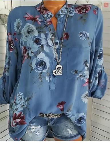 billige Skjorter til damer-Skjortekrage Skjorte Dame - Blomstret, Lapper / Trykt mønster Grunnleggende Ut på byen Blå