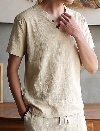 levne Pánské košile-Pánské - Jednobarevné / Galaxie / Grafika Klub Základní / Punk & Gothic Větší velikosti Tričko Podšívka Do V Námořnická modř / Krátký rukáv