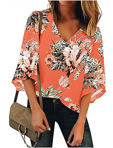 billige Dametopper-Bomull V-hals Skjorte Dame - Blomstret, Lapper Gatemote Oransje
