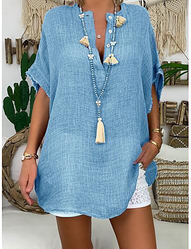 billige Skjorter til damer-Bomull Løstsittende V-hals Store størrelser Skjorte Dame - Ensfarget Grunnleggende / Gatemote Fuksia