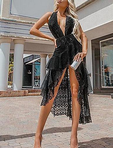 preiswerte Speziell an Halloween-Damen Elegant A-Linie Kleid - Spitze Asymmetrisch