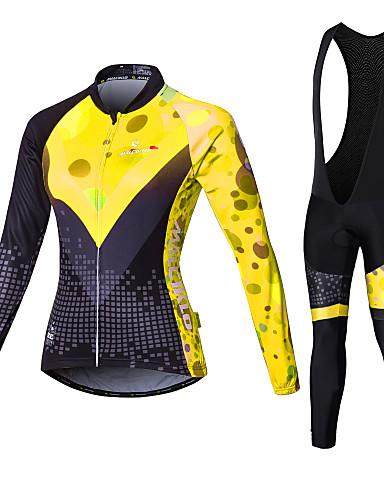povoljno Odjeća za vožnju biciklom-Malciklo Žene Dugih rukava Biciklistička majica s tregericama - Obala / Crn Veći konfekcijski brojevi Bicikl Biciklizam Hulahopke / Kompleti odjeće, Prozračnost, Pad 3D, Quick dry Coolmax®, Likra