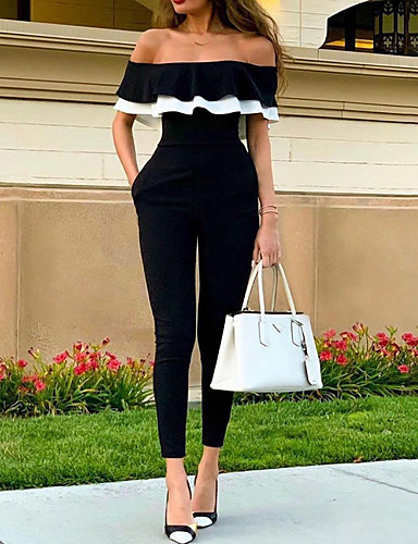 billige Jumpsuits og sparkebukser til damer-Dame Svart Kjeledresser, Ensfarget Drapering M L XL