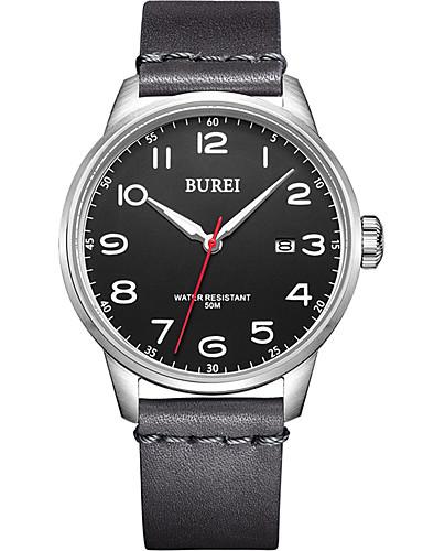 Homens Relógio Elegante Quartzo Couro 30 m Impermeável Relógio Casual Analógico Casual Fashion - Preto Um ano Ciclo de Vida da Bateria / Aço Inoxidável