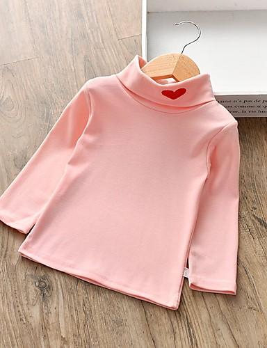 Νήπιο Κοριτσίστικα Βασικό Μονόχρωμο Μακρυμάνικο Βαμβάκι Μπλούζα Ανθισμένο Ροζ