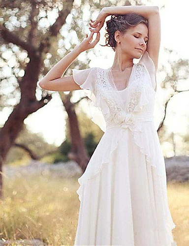 cheap Wedding Dresses-A-Line Wedding Dresses V Neck Sweep / Brush Train Chiffon Short Sleeve Country Casual Boho Little White Dress See-Through with Beading Appliques 2020