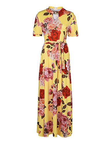 levne Maxi šaty-Dámské Štíhlý Swing Šaty - Květinový, Tisk Maxi Rolák