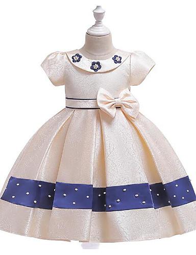 Πριγκίπισσα Μέχρι το γόνατο Φόρεμα για Κοριτσάκι Λουλουδιών - Πολυεστέρας Κοντομάνικο Με Κόσμημα με Χάντρες / Φιόγκος(οι)