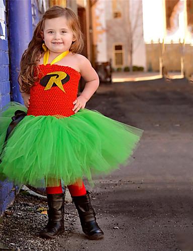 Παιδιά Νήπιο Κοριτσίστικα Ενεργό χαριτωμένο στυλ Μαύρο & Κόκκινο Γράμμα Εξώπλατο Δίχτυ Patchwork Αμάνικο Ως το Γόνατο Φόρεμα Πράσινο του τριφυλλιού