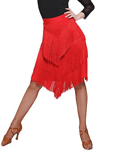 povoljno Shall We®-Latino ples Donji Žene Trening / Seksi blagdanski kostimi Spandex / Šifon / polyster S resicama / S izrezom Prirodno Suknje