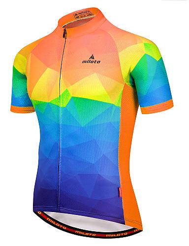 povoljno Odjeća za vožnju biciklom-Miloto Muškarci Kratkih rukava Biciklistička majica Blue + Orange Blue / Bijela Red+Blue Bicikl Biciklistička majica Majice Ovlaživanje Reflektirajuće trake Povratak džep Sportski 100% poliester