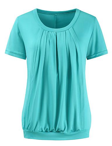 billige T-skjorter til damer-T-skjorte Dame - Ensfarget, Utskjæring / Lapper Grunnleggende Grønn