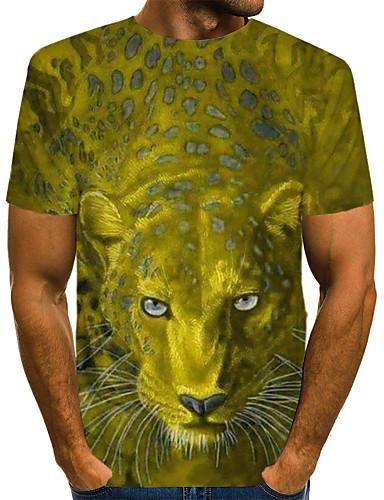 levne Pánská tílka-Pánské - 3D / Zvíře Klub Šik ven EU / US velikost Tričko, Tisk Kulatý Žlutá / Krátký rukáv