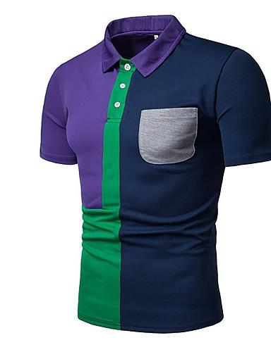 Ανδρικά Μέγεθος EU / US Polo Συνδυασμός Χρωμάτων Κολάρο Πουκαμίσου Ρουμπίνι / Κοντομάνικο