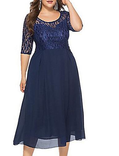 cheap Blue Dresses-Women's Basic Sheath Dress - Solid Colored Lace Navy Blue XXXXL XXXXXL XXXXXXL
