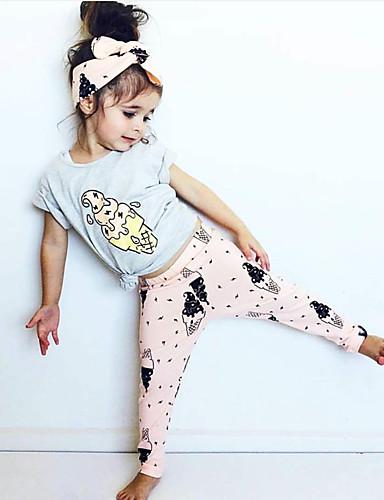 Μωρό Κοριτσίστικα Καθημερινό / Ενεργό Στάμπα Στάμπα Κοντομάνικο Κανονικό Σετ Ρούχων Γκρίζο