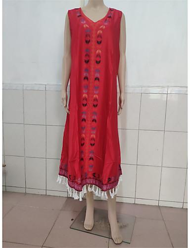 voordelige Maxi-jurken-Dames Boho Tuniek Jurk Geborduurd V-hals Maxi / Grote maten