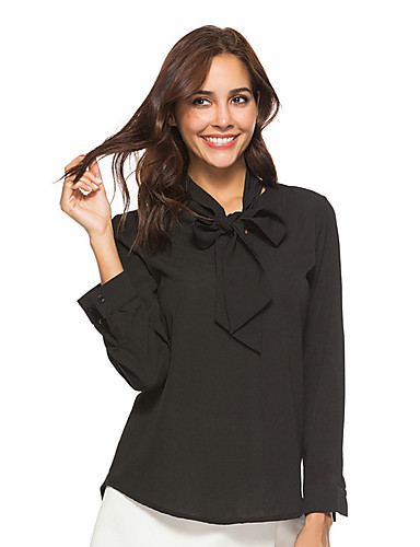billige Dametopper-Skjortekrage Bluse Dame - Ensfarget Svart
