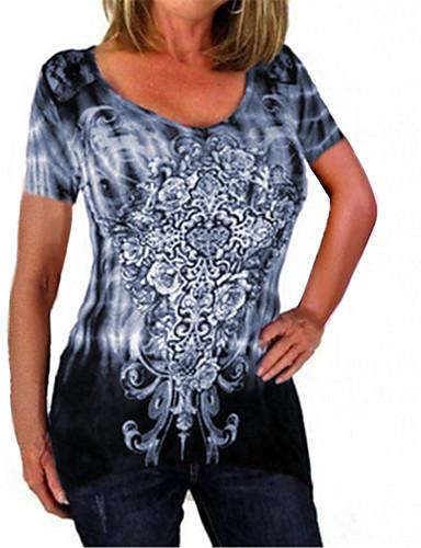 billige Dametopper-Bomull Store størrelser T-skjorte Dame - Batikkfarget, Blonde / Lapper / Trykt mønster Grunnleggende Blå