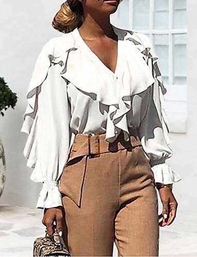 Γυναικεία Μπλούζα Κομψό στυλ street Μονόχρωμο Λαιμόκοψη V Patchwork Θαλασσί