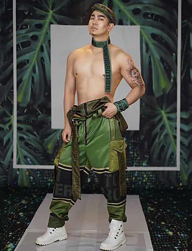 voordelige Shall We®-Exotische Dancewear Nachtclub jumpsuits Heren Prestatie Spandex Ruches Hoed / Broeken / Neckwear