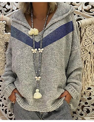 billige Dametopper-Dame Geometrisk Langermet Pullover Genserjumper, Med hette Gul / Rød / Grå S / M / L
