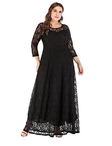 levne Maxi šaty-Dámské A Line Šaty - Jednobarevné, Krajka Maxi