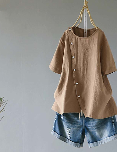 billige Bluser-Bomull Løstsittende Skjorte Dame - Ensfarget, Nagle / Lapper Vintage Hvit