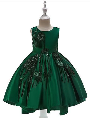Γραμμή Α Ασύμμετρο Φόρεμα για Κοριτσάκι Λουλουδιών - Μείγμα Πολυεστέρα / Βαμβάκι Αμάνικο Με Κόσμημα με Παγιέτες