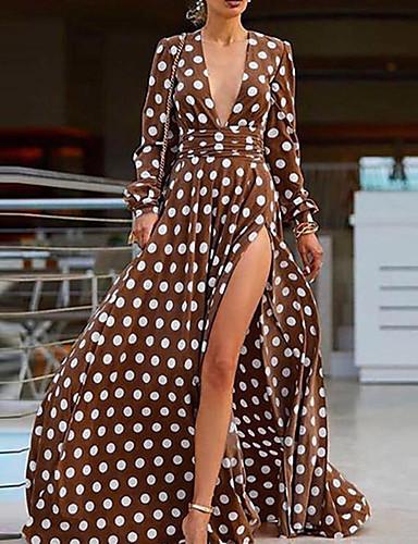 levne Maxi šaty-Dámské Šik ven Elegantní Swing Šaty - Puntíky, Tisk Maxi