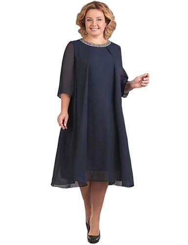 voordelige Grote maten jurken-Dames Standaard Chiffon Jurk - Effen, Pailletten Tot de knie