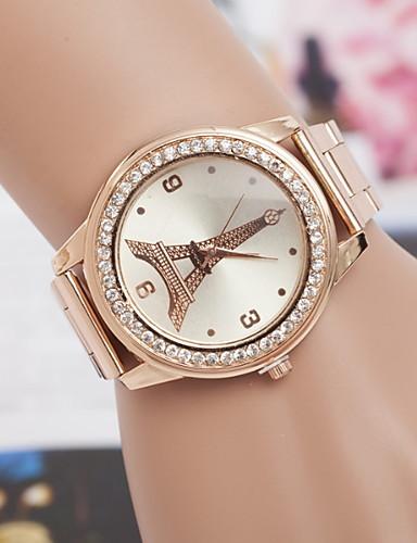 Mulheres Relógio Elegante Quartzo Aço Inoxidável Relógio Casual Analógico Clássico - Dourado Prata Fúcsia