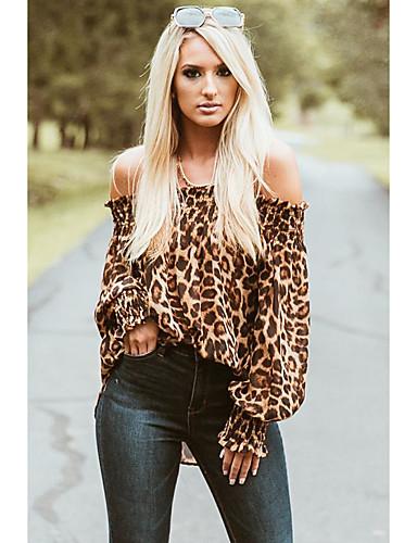 billige Dametopper-Skjorte Dame - Leopard Grunnleggende Kakifarget