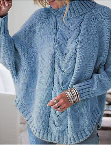 billige Dametopper-Dame Ensfarget Langermet Pullover Genserjumper, Rullekrage Svart / Rosa / Gul En Størrelse