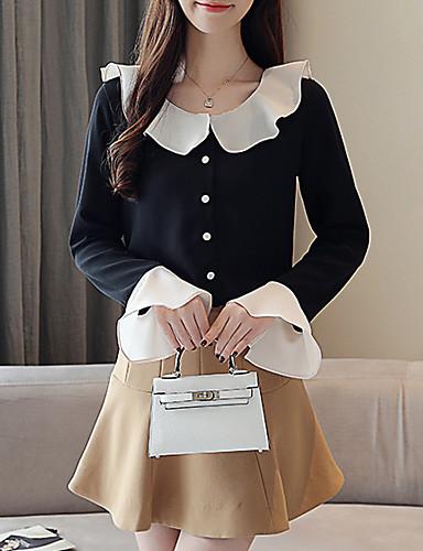 billige Skjorter til damer-Skjortekrage Skjorte Dame - Ensfarget, Drapering / Lapper Grunnleggende Svart