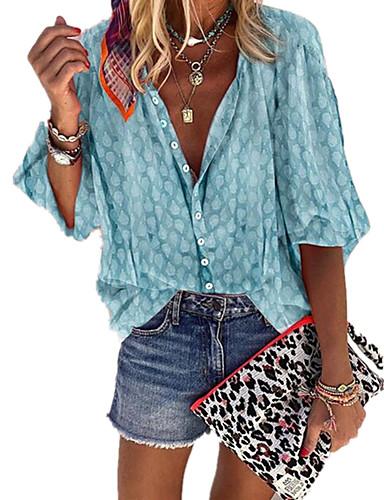 billige Dametopper-Skjortekrage Store størrelser Skjorte Dame - Polkadotter, Lapper / Trykt mønster Bohem Lilla