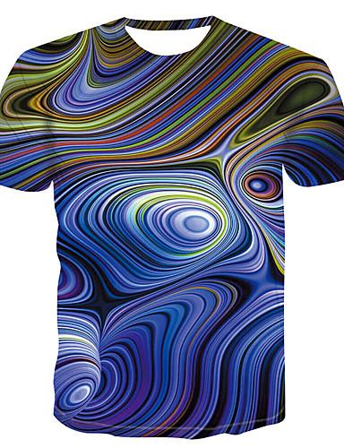 Rund hals Store størrelser T-skjorte Herre - Fargeblokk Grunnleggende Blå / Kortermet