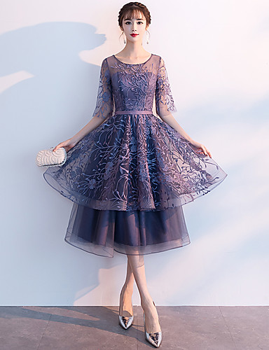 Γραμμή Α Με Κόσμημα Κάτω από το γόνατο Δαντέλα Φανταχτερό / Κομψό Κοκτέιλ Πάρτι / Αργίες Φόρεμα 2020 με Βαθμίδες