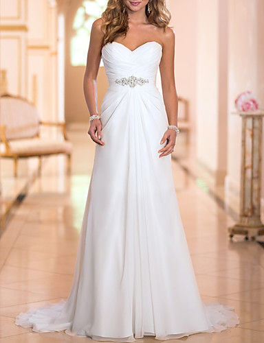 cheap Wedding Dresses-A-Line Strapless Sweep / Brush Train Chiffon Strapless Simple Backless Wedding Dresses with Crystals 2020