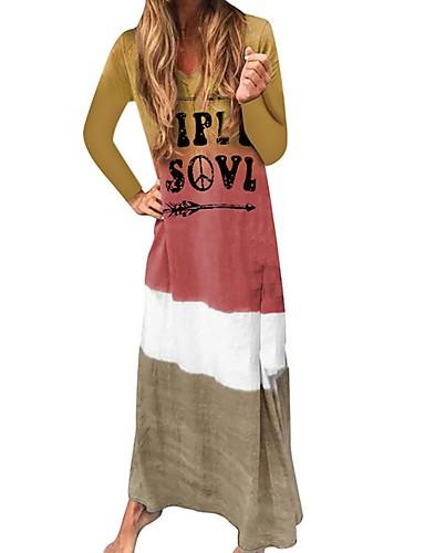 Жен. На каждый день Прямое Платье - Контрастных цветов Буквы V-образный вырез Макси