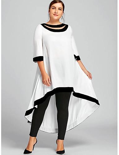 voordelige Maxi-jurken-Dames Grote maten Schede Jurk - Effen Maxi