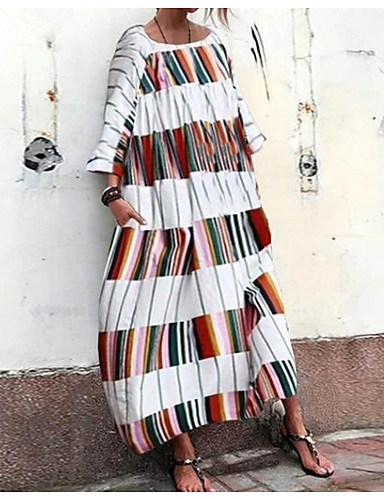 voordelige Maxi-jurken-Dames Boho Chinoiserie Overhemd Abaya Jurk - Gestreept, Geplooid Patchwork Print Midi