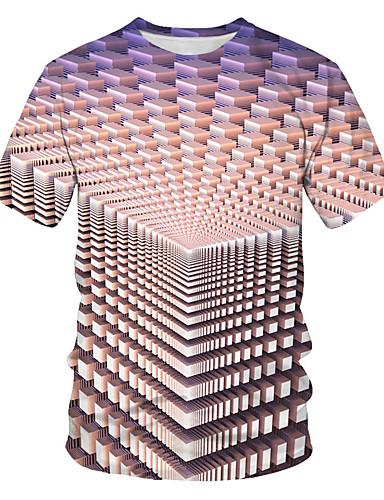 Ανδρικά Μεγάλα Μεγέθη T-shirt Γεωμετρικό Στρογγυλή Λαιμόκοψη Ουράνιο Τόξο / Κοντομάνικο