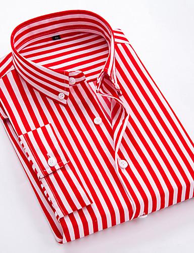 levne Pánské košile-Pánské - Proužky Business / Základní Košile Bavlna Štíhlý Černá / Krátký rukáv
