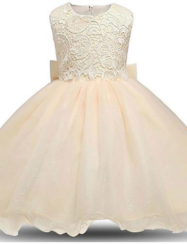 Prinsesse Knelang Blomsterpikekjole - Polyester / Blonder / Tyll Ermeløs Besmykket med Sløyfe(r) / Blonder / Trimmer