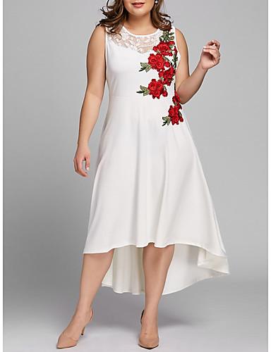 levne Maxi šaty-Dámské Vintage Pouzdro Šaty - Květinový, Krajka Výšivka Maxi