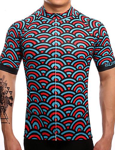 povoljno Odjeća za vožnju biciklom-Fastcute Muškarci Kratkih rukava Biciklistička majica Red+Blue Bicikl Biciklistička majica Majice Brdski biciklizam biciklom na cesti Prozračnost Ovlaživanje Quick dry Sportski Polyester Taffeta